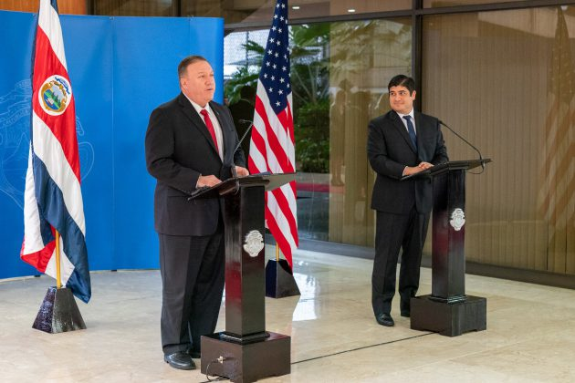 President of Costa Rica Carlos Alvarado and U.S. Secretary of State Mike Pompeo